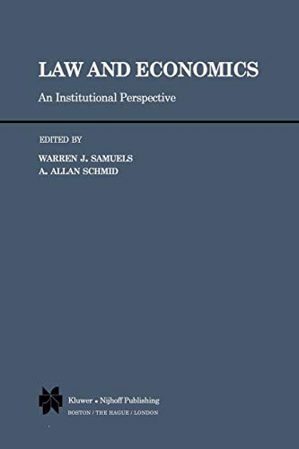 9789400987685: Law and Economics: An Institutional Perspective