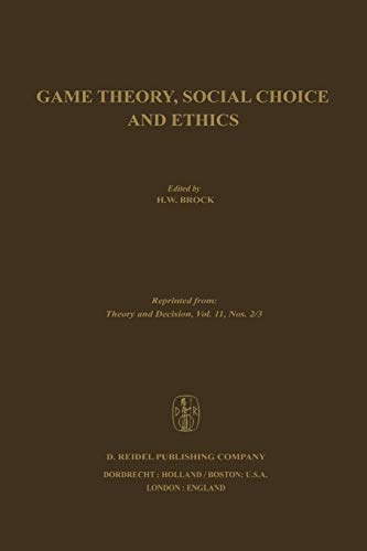 9789400995345: Game Theory, Social Choice and Ethics (Volume 11)