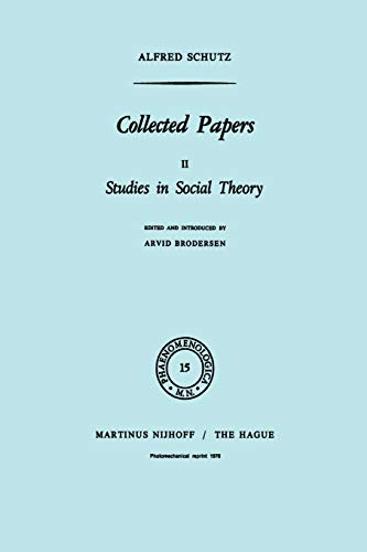 9789401013420: Collected Papers II: Studies in Social Theory (Phaenomenologica)