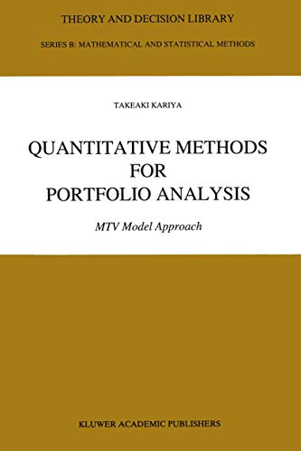 9789401047548: Quantitative Methods for Portfolio Analysis: MTV Model Approach (Theory and Decision Library B)
