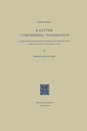 9789401181600: A Letter Concerning Toleration: Latin and English Texts Revised and Edited with Variants and an Introduction