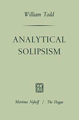 9789401181839: Analytical Solipsism