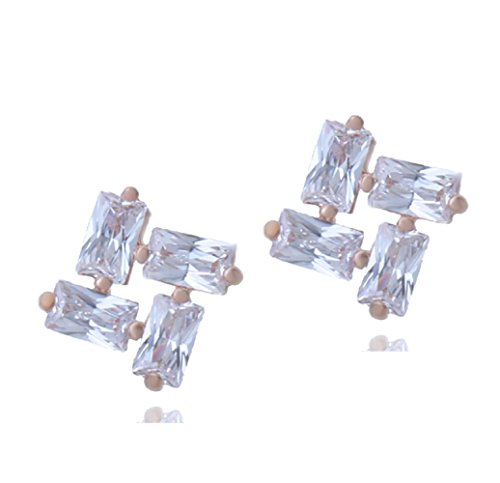 9789549485097: Charming 18K Rose Gold GP Small Rhombus Earrings with White Swarovski Crystals