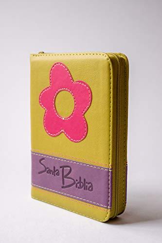 Biblia mediana zipper flor fucsia y verde: Varios