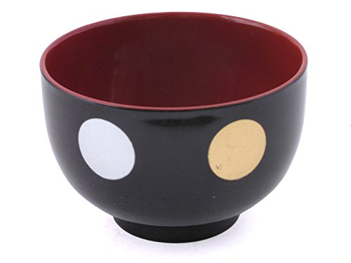 "2 PCS. Japanese 4.25"" Diameter Lacquer Miso Soup Rice Bowl Mizutama Black Design, Made in ..."