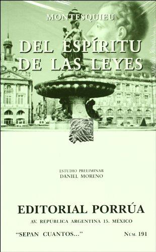 9789700772967: Del espiritu de las leyes (Sepan Cuantos # 191) (Spanish Edition)