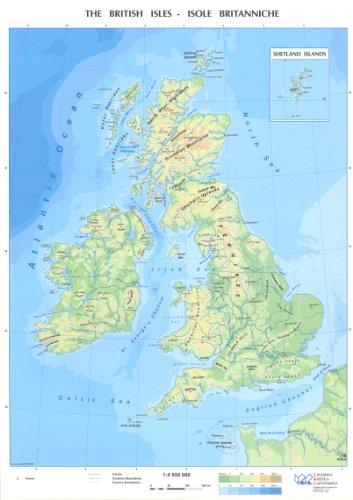 9789717926544: Bristish Isles Physical / Political student's desktop map 12