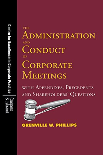 9789768125279: The Administration and Conduct of Corporate Meetings: With Appendixes, Precedents and Shareholders' Questions (UWICED Occasional Paper Series)