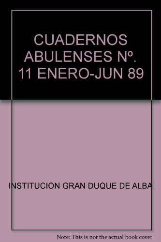 9789788400059: CUADERNOS ABULENSES Nº. 11 ENERO-JUN 89