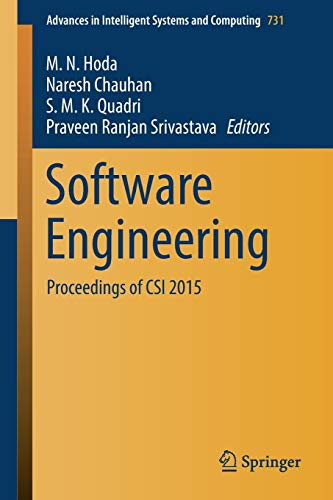 9789811088476: Software Engineering: Proceedings of CSI 2015: 731 (Advances in Intelligent Systems and Computing)