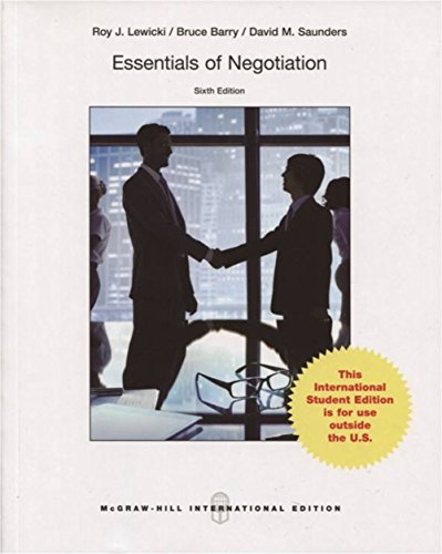 negotiation by lewicki See roy j lewicki, david m saunders and bruce barry, negotiation (5 ed, 2006)  especially ch 2 dean g pruitt and peter j carnevale, negotiation in social.