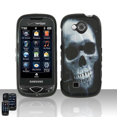 9789861564685: X-Ray White Skull Rubberized Snap on Hard Cover Protector Faceplate Cell Phone Case for Verizon Samsung Reality U820 + Belt Clip + LCD Screen Guard Film (Free Wrist Band)