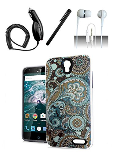 9789865973445: ZTE Grand X 3 Z959 / Warp 7 N9519 Case Paisley Design Hybrid Dual Layer Cover + Car Charger + Stylus Pen + Stereo Earphone