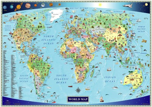 Illustrated Map of the World for Kids (Children's World Map): Akros