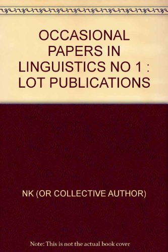 9789987691074 - OCCASIONAL PAPERS IN LINGUISTICS NO 1 : LOT PUBLICATIONS - Kitabu