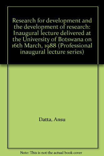 Research for development and the development of: Ansu Datta