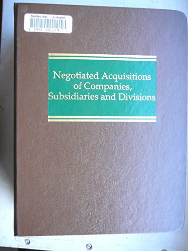 9789992275306: Negotiated Acquisitions of Companies, Subsidiaries and Divisions (Corporate Securities)