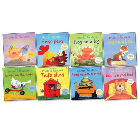 9789999338813: Usborne Phonics Readers Pack - Eight (8) Titles Collection! Big Pig on a Dig, Fox on a Box, Frog on a Log, Goose on the Loose, Hen's Pens, Ted in a Red Bed, Ted's Shed, Toad Makes a Road (Usbornic Readers)