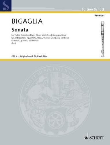 Sonate g-Moll : fürAltblockflöte und Bc: Diogenio Bigaglia
