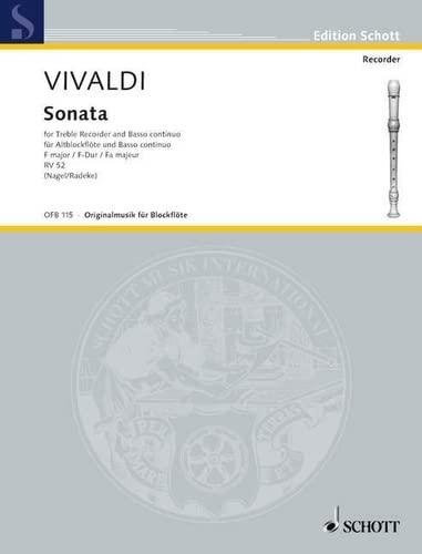 Sonate F-Dur RV52 : für Altblockflöteund Klavier: Antonio Vivaldi