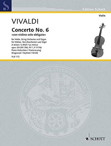 Konzert a-Moll op.3,6 RV356 für Violine,Streicher und Orgel : für Violine und Klavier: ...