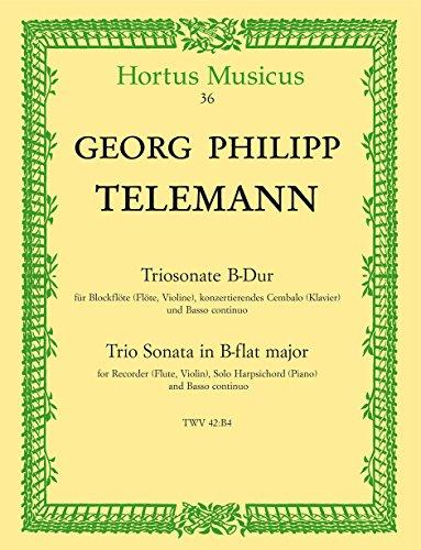 Triosonate B-Dur : fürBlockflöte (Flöte, Violine),: Georg Philipp Telemann