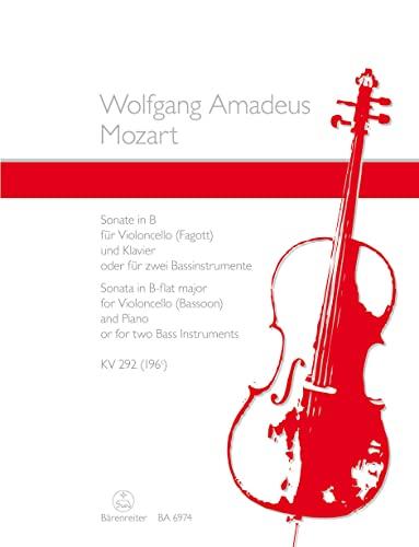 Sonate B-Dur nach KV292 :für Violoncello und Klavier: Wolfgang Amadeus Mozart