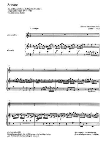 Sonate BWV1020 : für Altblockflöteund obligates Cembalo: Johann Sebastian Bach