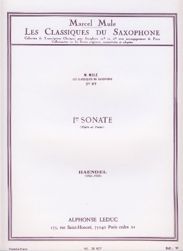 Sonate 1 Original Fuer Floete: Haendel Georg Friedrich